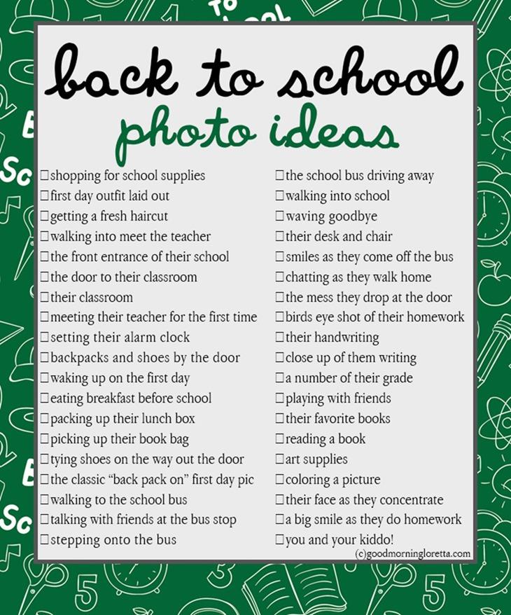 Back To School Photo Checklist Good Morning Loretta